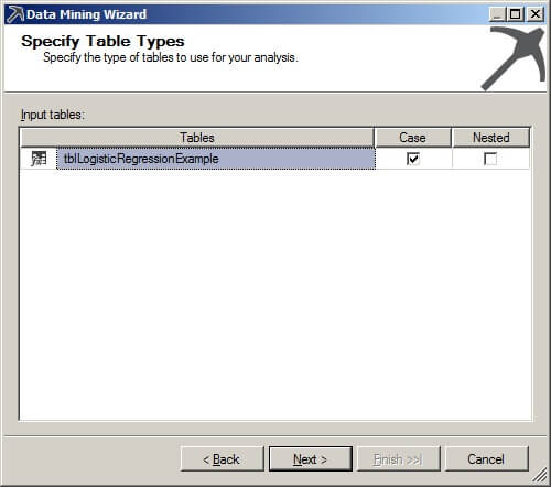 Specify table types