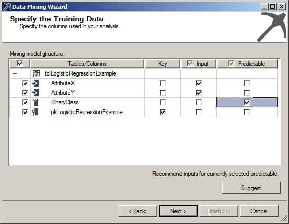 Specify training data