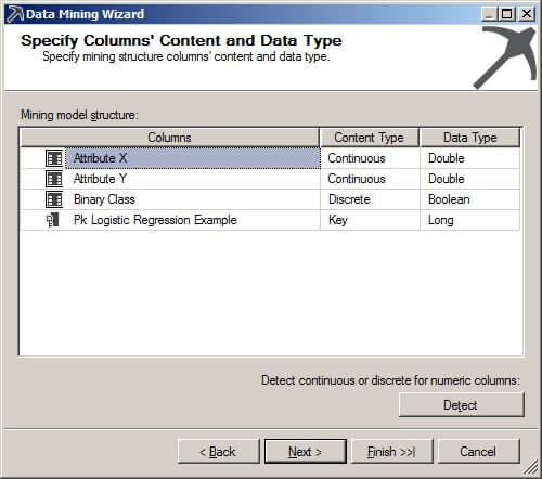 Specify Column Content and Data Type