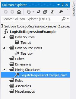 Mining structure in Solution Explorer