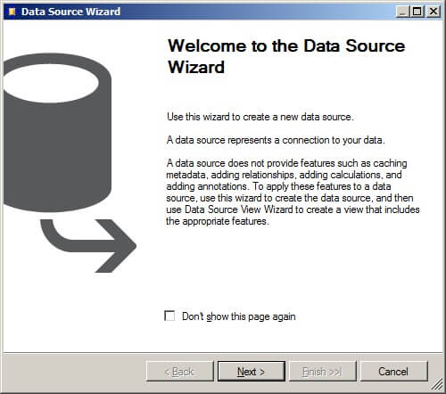 Data source wizard start page
