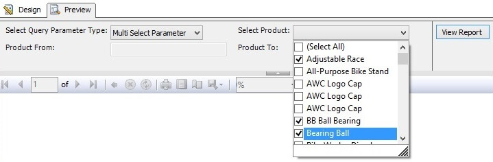 Product list from multi select parameter