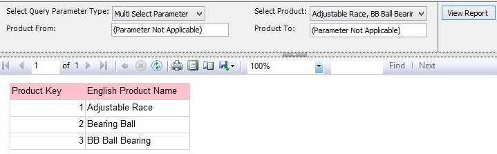 Report Preview For Multi Select Product Parameter