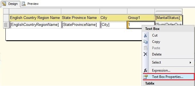 Matrix Group1 Row Textbox Selection