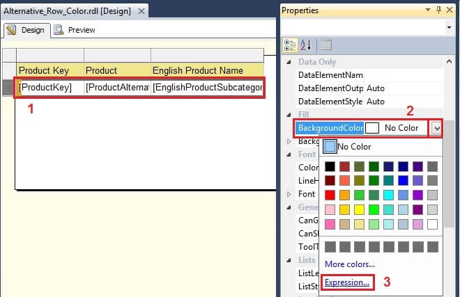Alternate Row Background Color in SQL Server Reporting Services