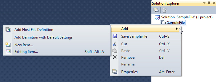 Right Click to Add a Host File Definition.
