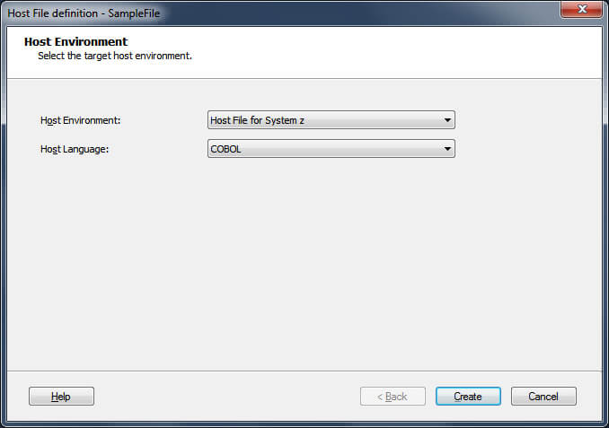 Screen Capture of Host File Definition Wizard.
