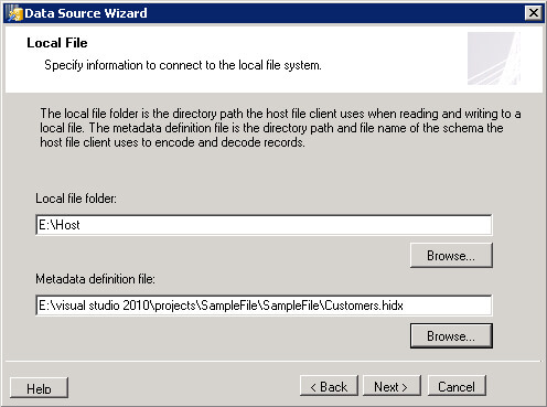 Step 2 of Host File Client Data Source Wizzard.