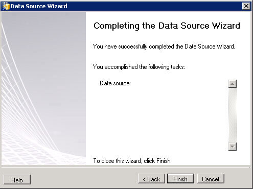 Host File Client Data Source Wizzard Finish Screen.