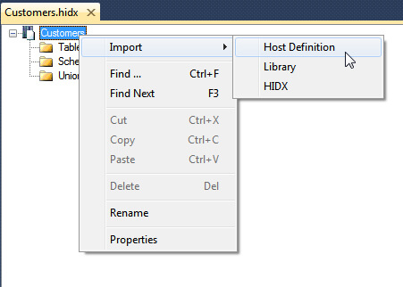 Import Host File Definition.