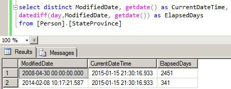 Datediff and getdate functions