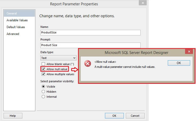 Allow NULL In Multi Value Parameter Error