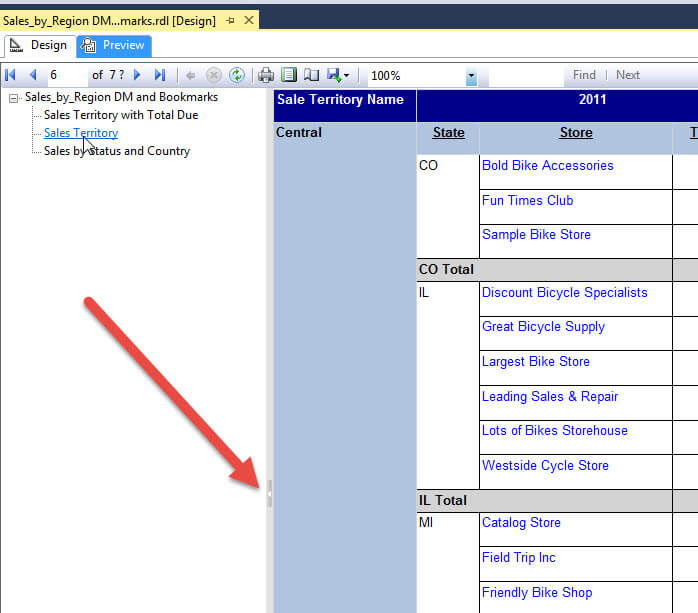 SQL Server Reporting Services Bookmarks and Document Maps