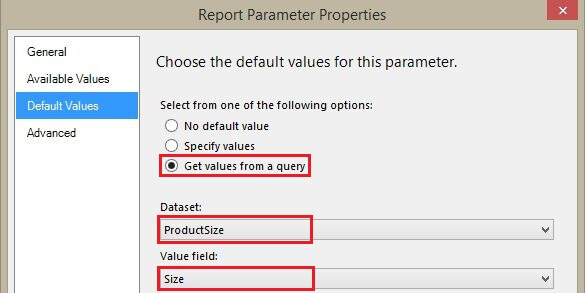 Setting Select All default value for Size Report parameter