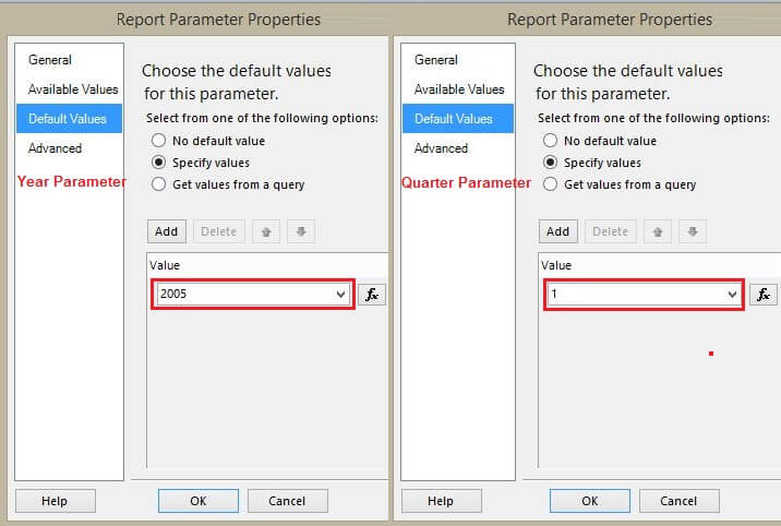 Report Parameter Default Tab Changes