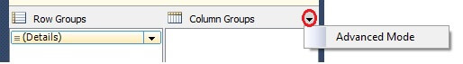 Tablix Column Groups Advance Mode