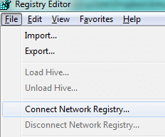 Once you bring up Registry Editor, you can connect to a network registry
