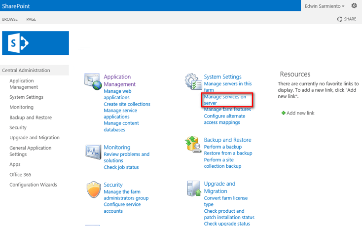SharePoint Central Administration web site