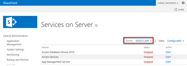 Services on Server - Reporting Services Installed