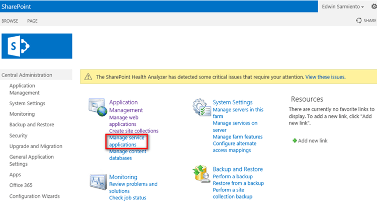 Manage service applications in SharePoint Central Administration