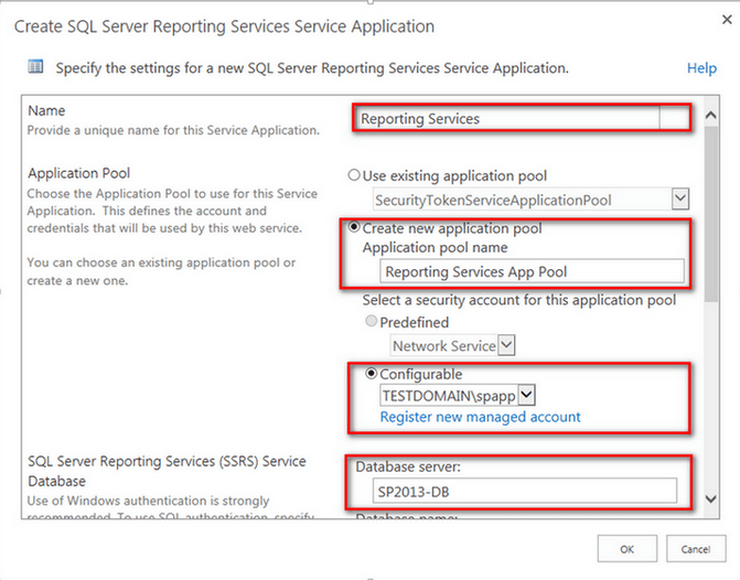 Create SQL Server Reporting Services Service Application