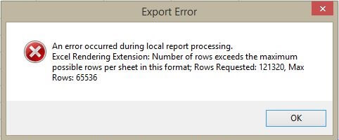 Report Preview With Excel Row Limit Issue