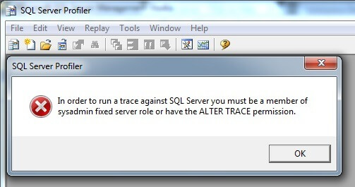 Error during launching SQL Server Profiler by a non SA account