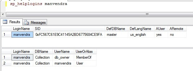 Verify newly created login named manvendra