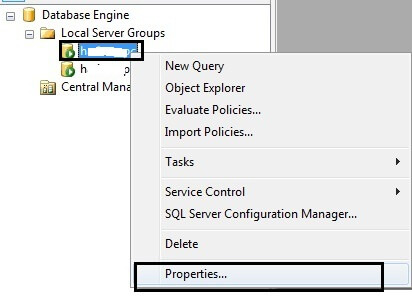 Choose properties of a registered server