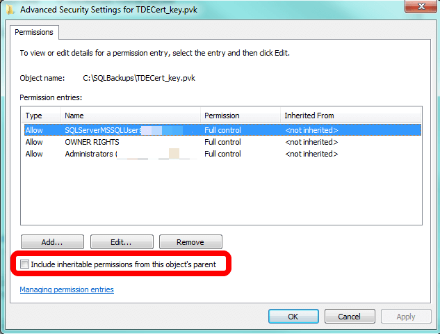 f that's the case with your file(s), click to check the box and click OK at every interface to turn inheritance back on.