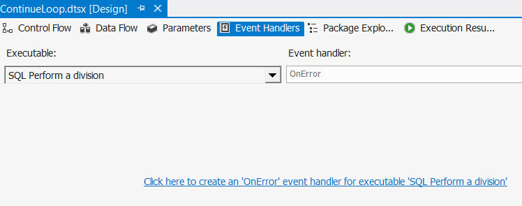 The event handlers tab