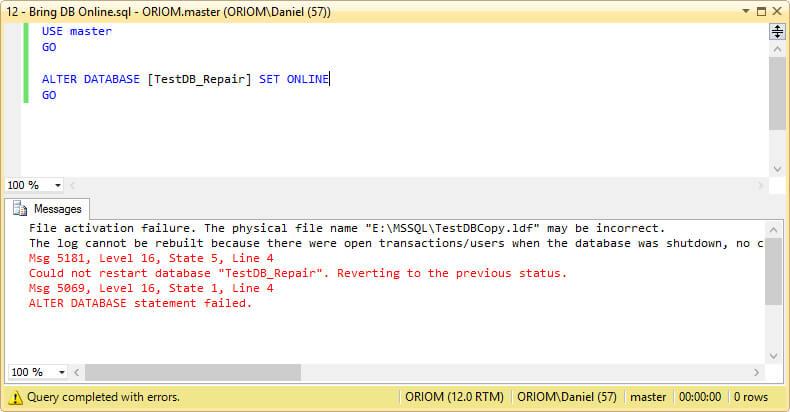 Bringing the Database Online.