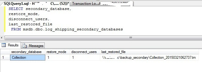 Check LS secondary db mode by t-sql