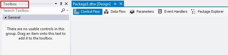 SSIS Toolbox Not Visible From View Toolbox