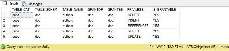 System Stored Procedure - sp_table_privileges_ex