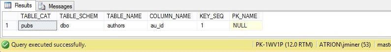 System Stored Procedure - sp_primary_keys