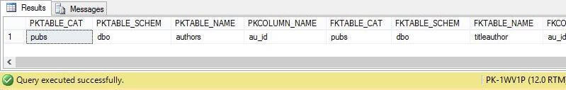 System Stored Procedure - sp_foreignkeys