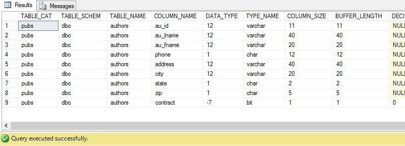 System Stored Procedure - sp_columns_ex
