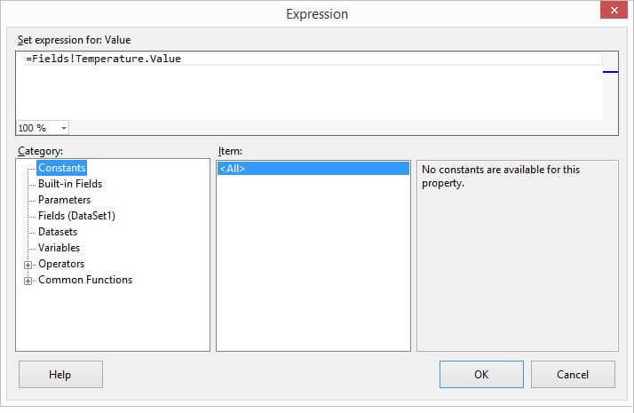 Default value when the Expression builder is displayed