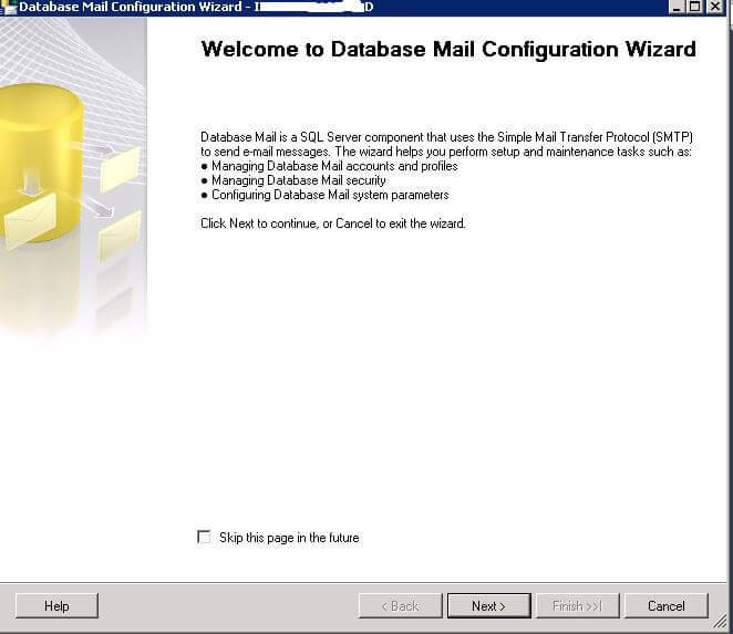 Welcome to Database Mail Configuration Wizard