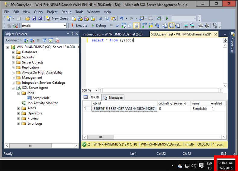 Contents of sysjobs Table Prior to Running instmsdb.sql Script.