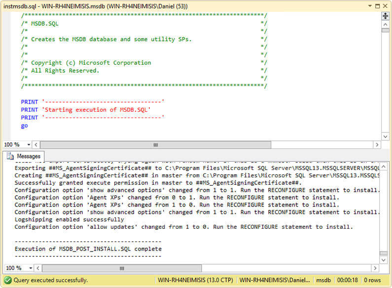 instmsdb.sql Script Execution on SQL Server Management Studio.
