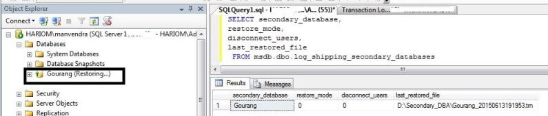 Check restore mode of secondary database