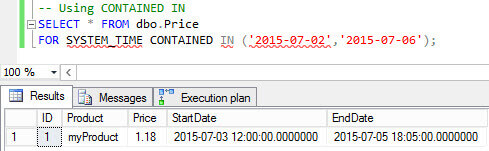 Using CONTAINED IN - query results