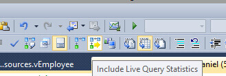 Include Live Query Statistics Button.