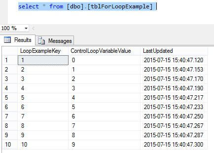 Query shows the loop executed 10 times.