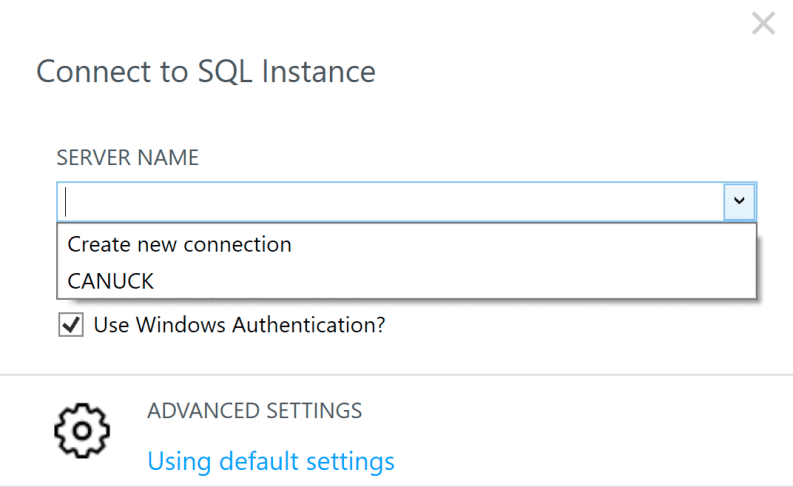 Connect to SQL Instance