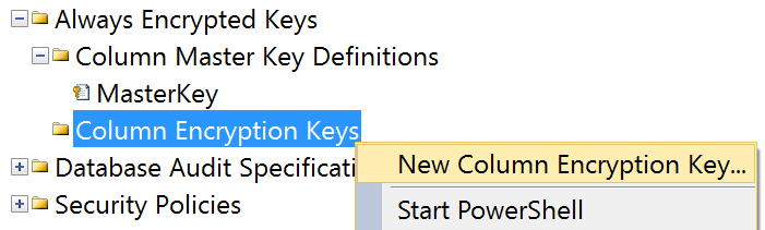 Column Encryption Key menu