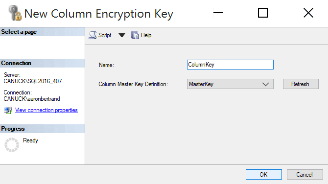 Column Encryption Key dialog