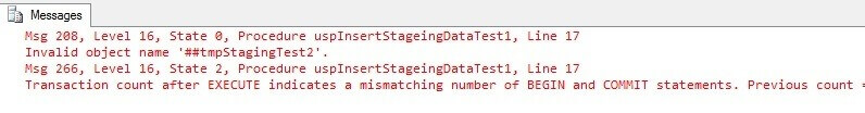 SQL Server transaction count after EXECUTE indicates a